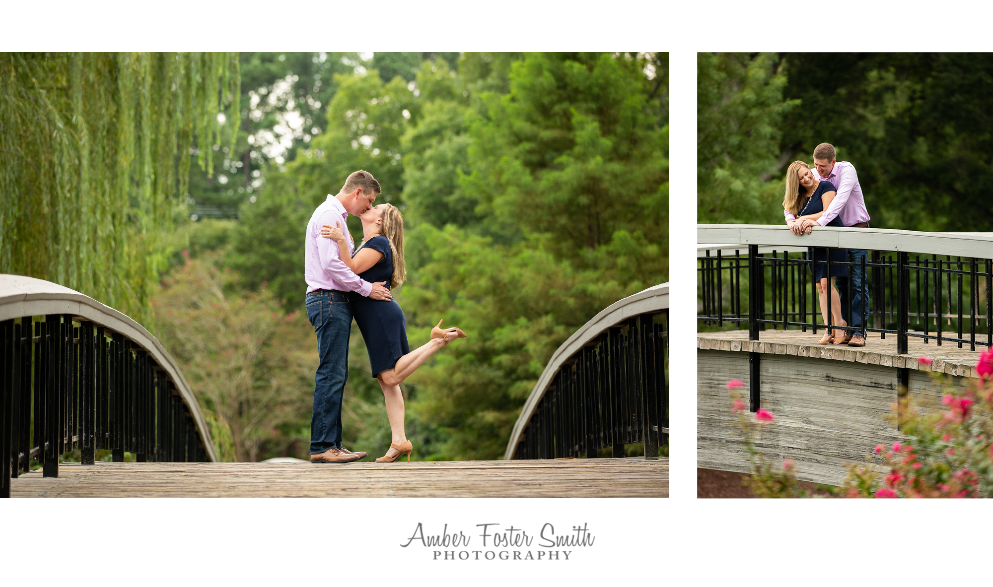 Engaged couple kissing on a bridge at Pullen Park