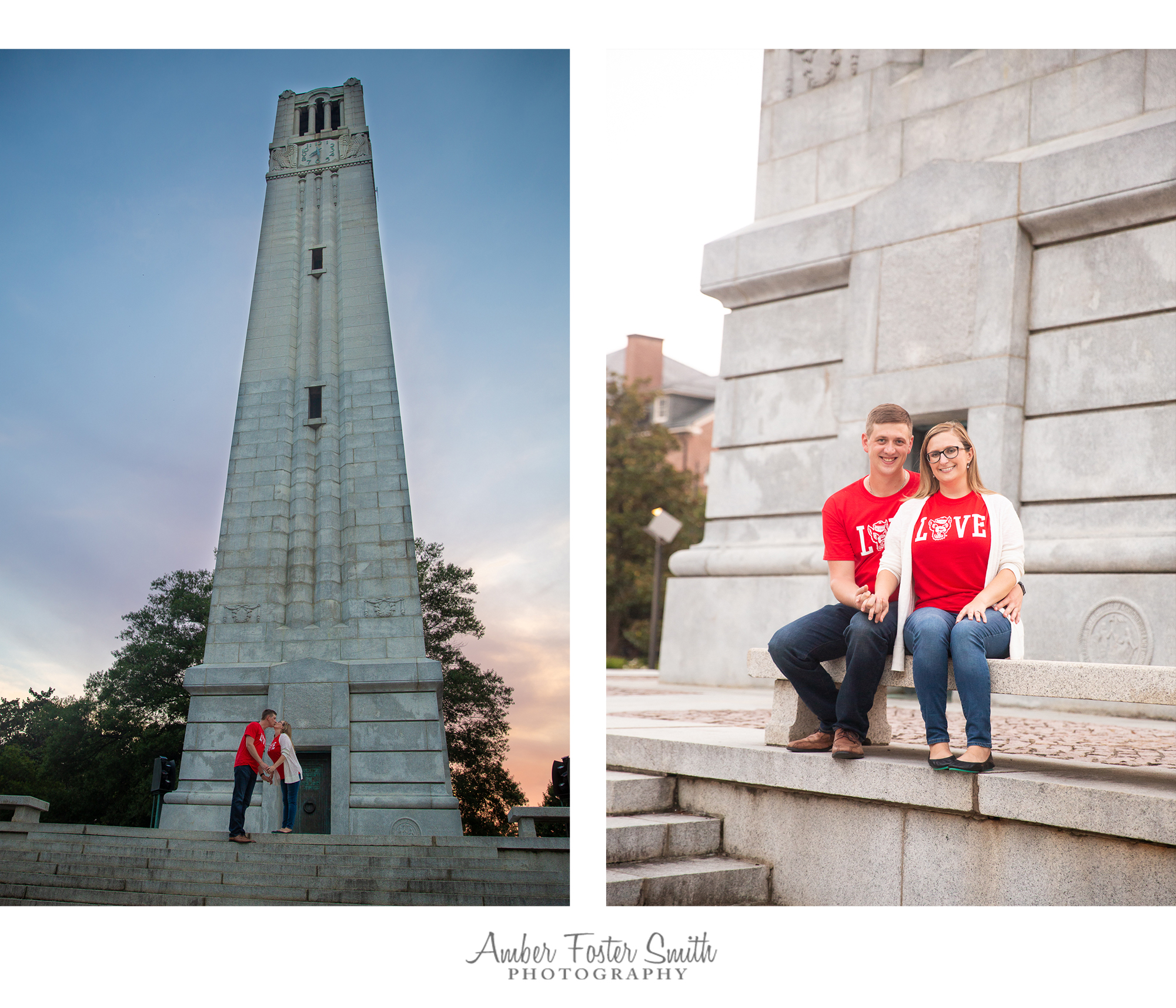 Engaged couple at the NCSU Bell Tower at sunset
