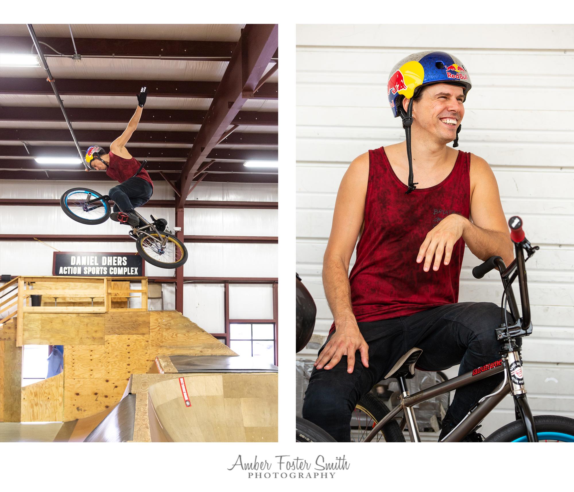 Man on BMX bike doing a trick and sitting on bike