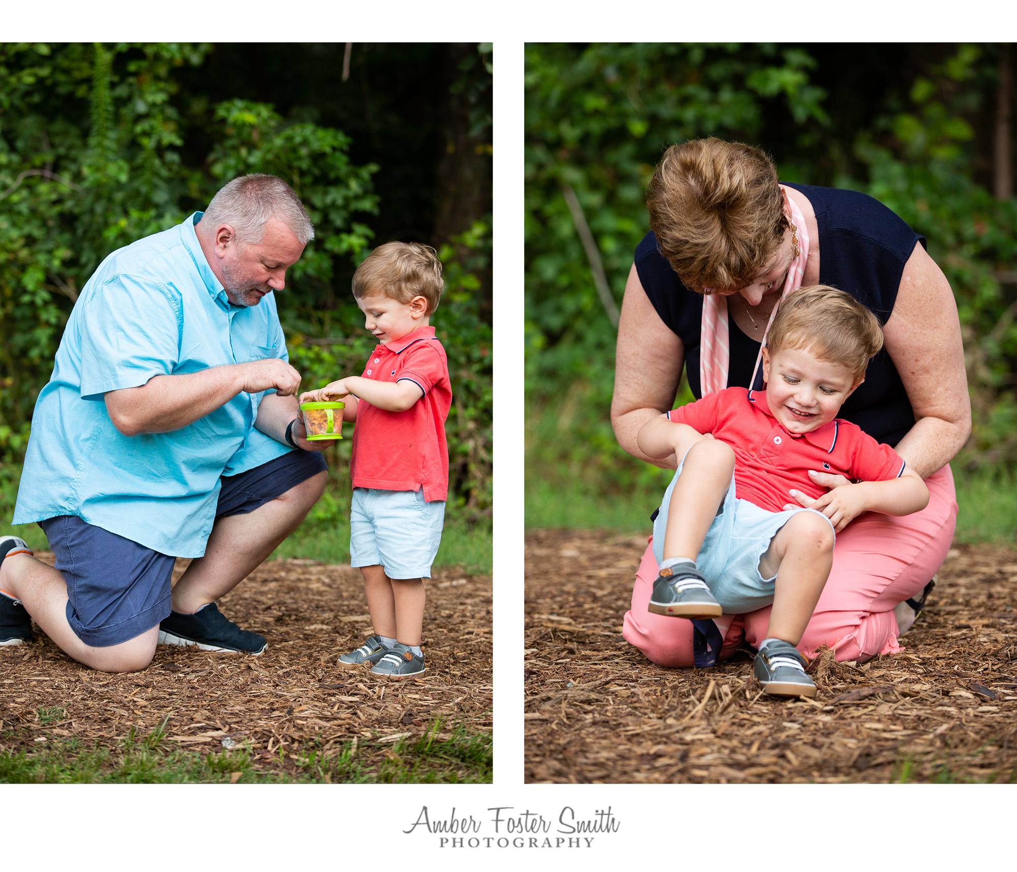 grandparents playing with young boy