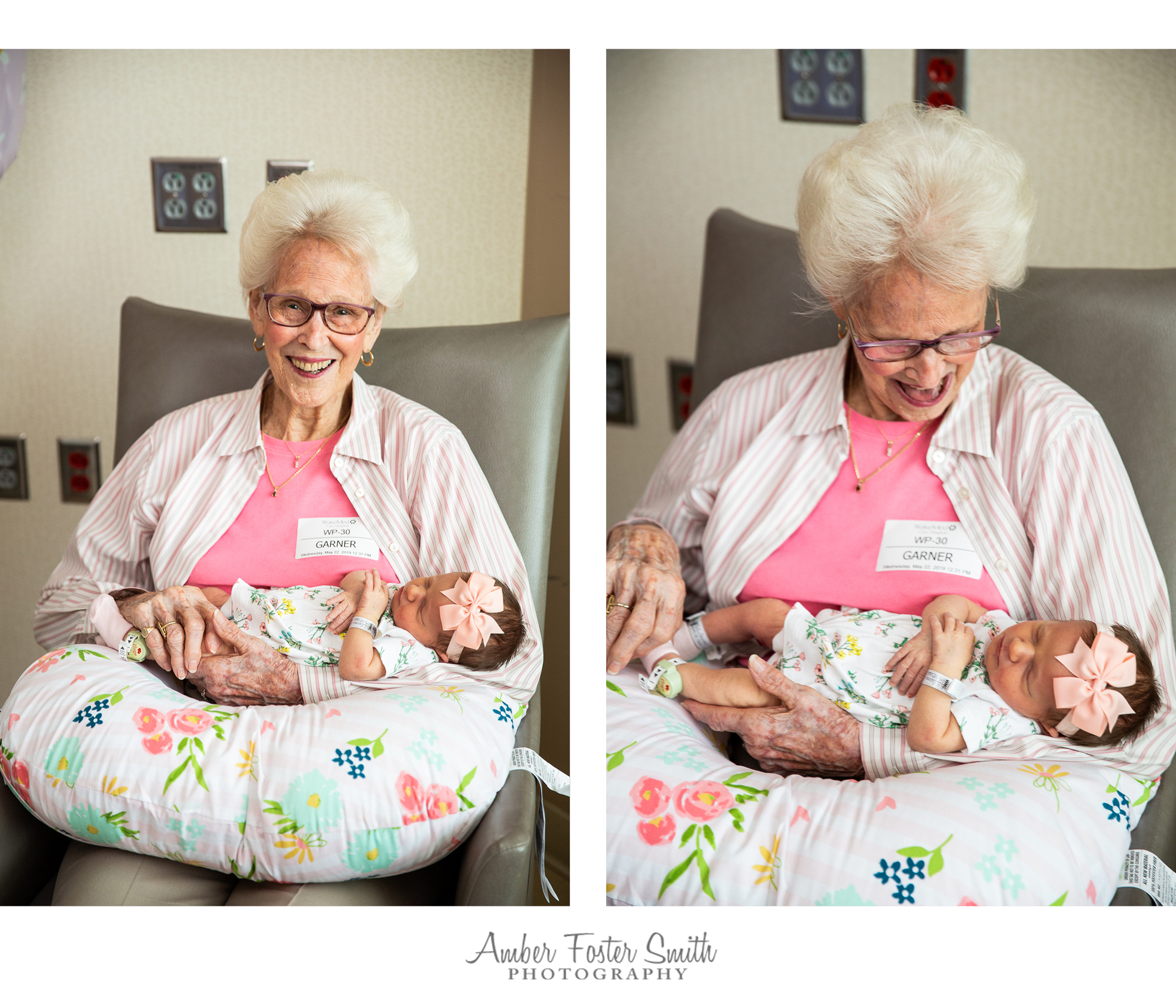 grandmother holding newborn baby