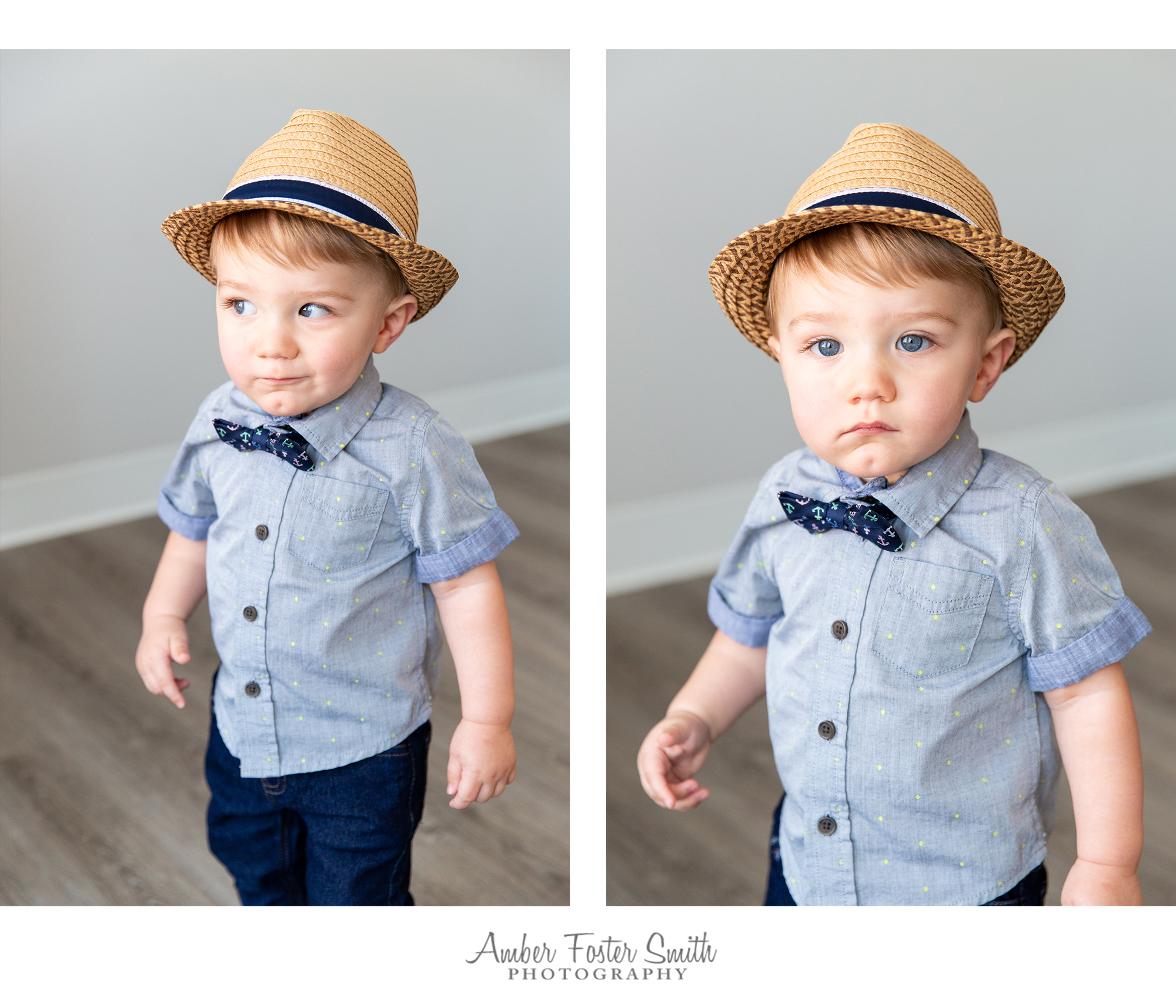one year old boy in hat standing