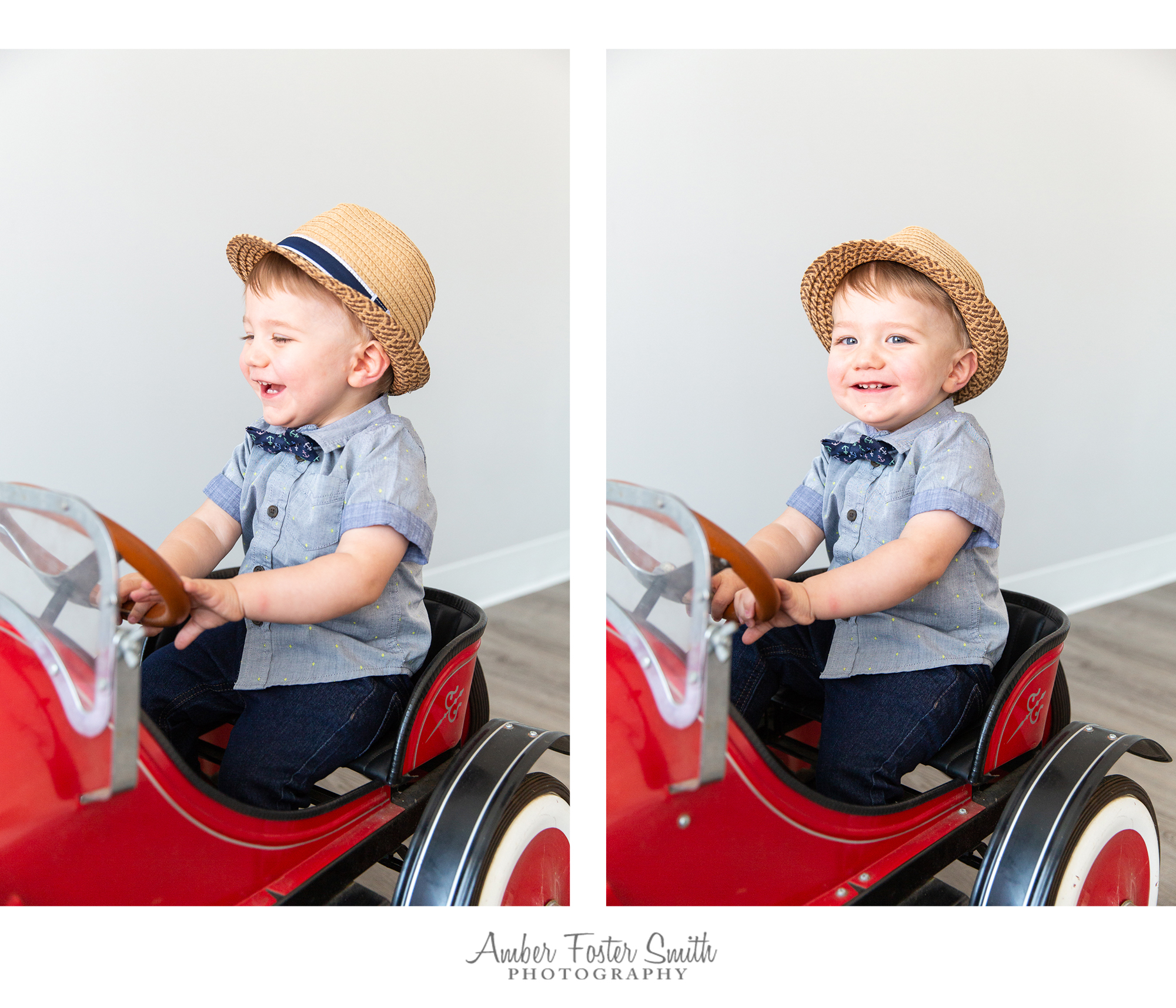 little boy sitting and laughing in red car
