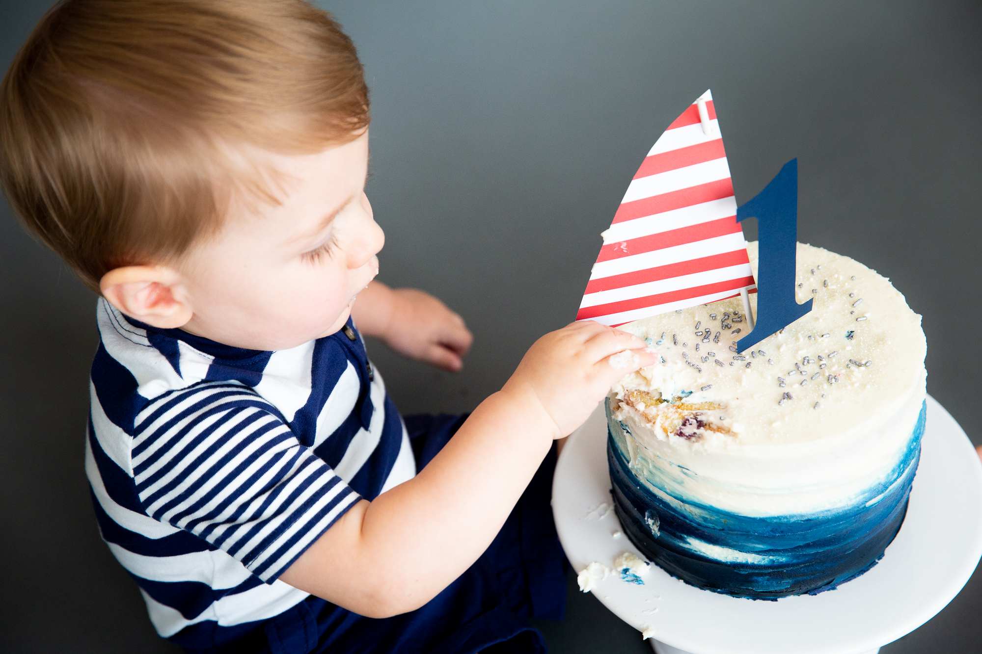one year old boy nautical cake smash