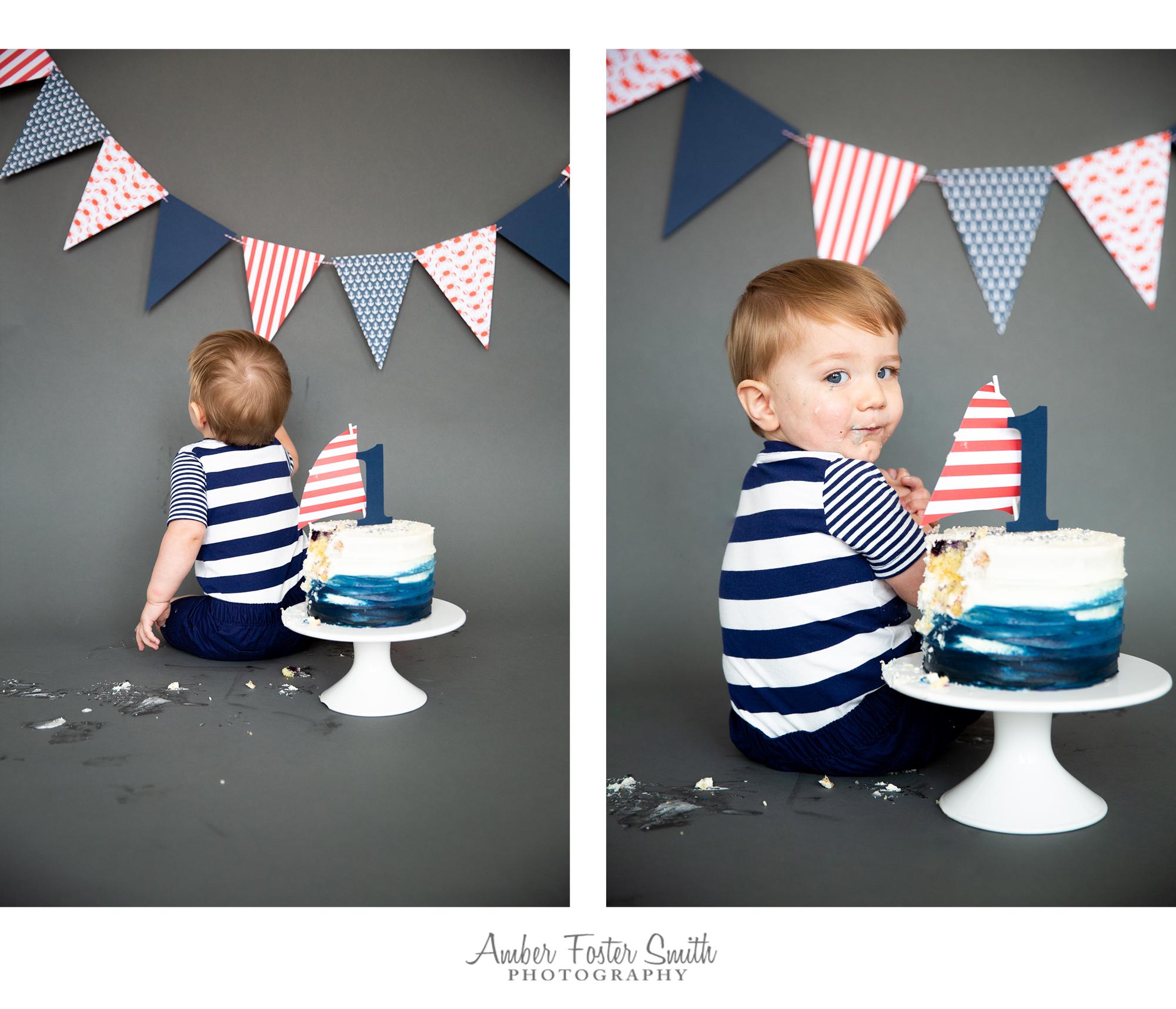 baby boy nautical cake smash